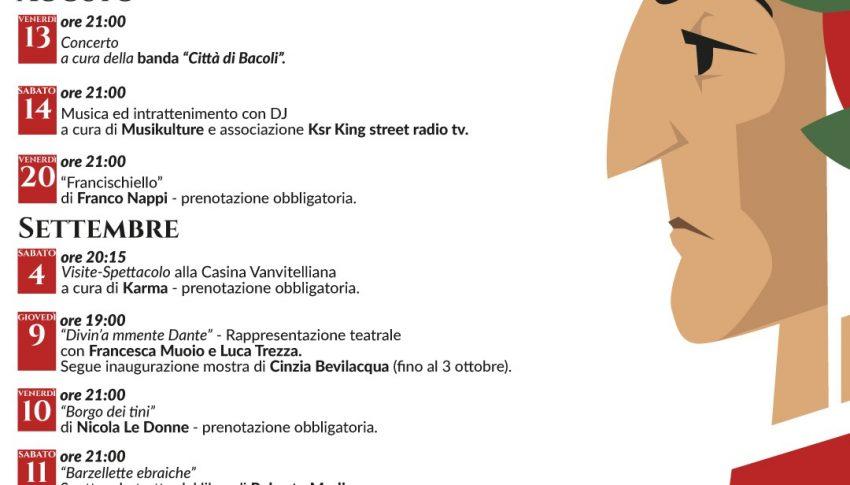 Eventi Estate 2021: Il Parco Borbonico celebra il 700° anniversario della morte di Dante