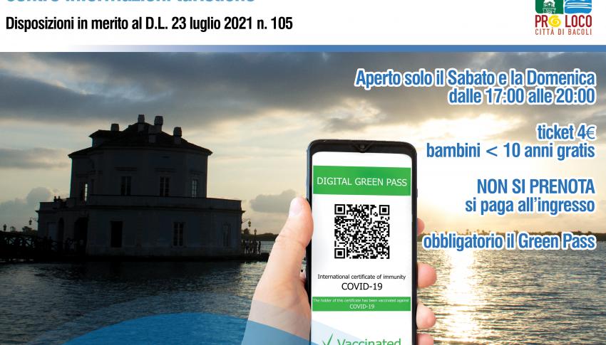 Disposizioni in merito al D.L. 23 luglio 2021 n. 105 – Casina Vanvitelliana
